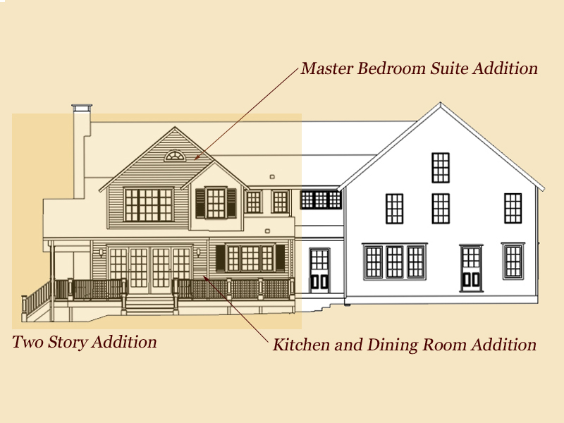 Two story addition and carriage house garage clark for Room addition plans free