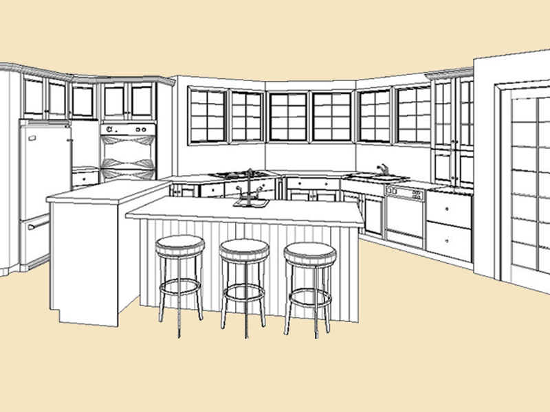 Kitchen Island Elevation media room addition » clark construction of ridgefield, inc.